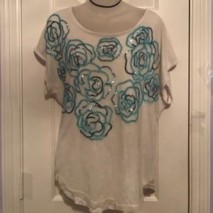 Free People Floral Sequin top